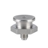 Плоские пресс-масленки M1, головка Ø 16 мм, по DIN 3404, сталь нержавеющая, шестигранные, Головка круглая